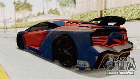 GTA 5 Pegassi Zentorno PJ para GTA San Andreas interior