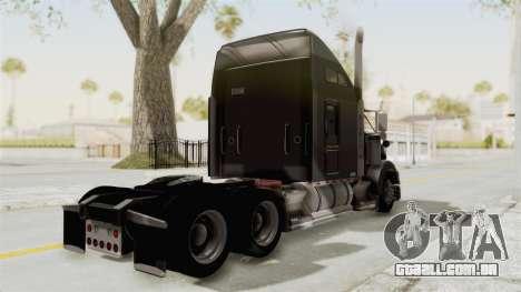 Kenworth T800 Centenario para GTA San Andreas traseira esquerda vista