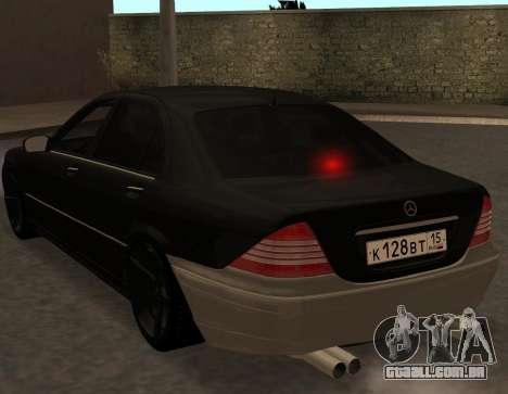 Mercedes S600 W220 JoRick Revazov para GTA San Andreas vista direita