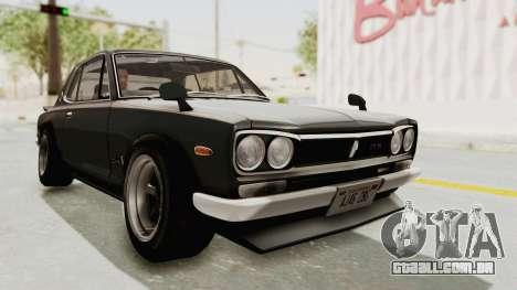 Nissan Skyline KPGC10 1971 Camber para GTA San Andreas vista direita
