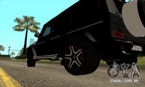 Mercedes G63 Biturbo para GTA San Andreas vista interior