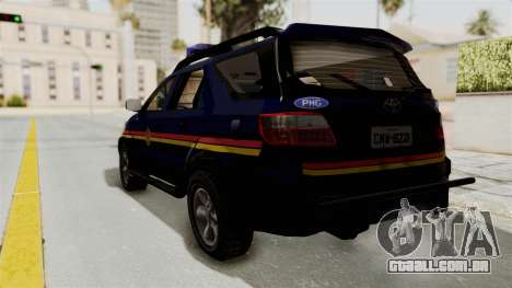 Toyota Fortuner JPJ Dark Blue para GTA San Andreas esquerda vista