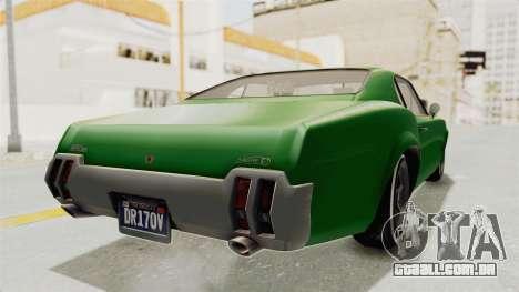 GTA 5 Declasse Sabre GT2 para GTA San Andreas traseira esquerda vista