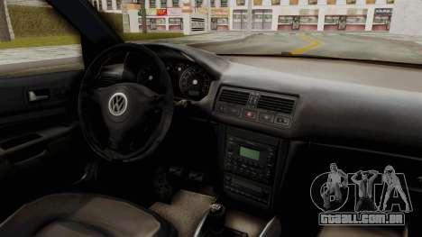 Volkswagen Golf Mk4 V5 Edited para GTA San Andreas vista interior