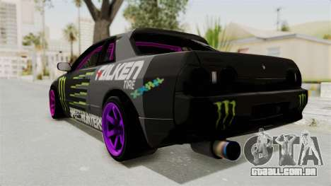 Nissan Skyline R32 Drift Monster Energy Falken para GTA San Andreas esquerda vista