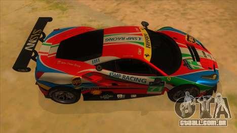 2016 Ferrari 488 GTE para GTA San Andreas vista interior