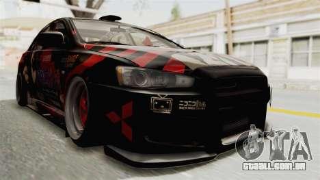 Mitsubishi Lancer Evolution X Ken Kaneki Itasha para GTA San Andreas vista direita