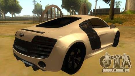 Audi R8 5.2 V10 Plus para GTA San Andreas vista direita
