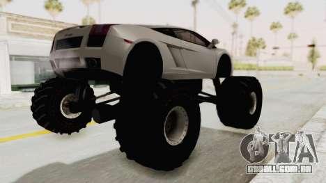 Lamborghini Gallardo 2005 Monster Truck para GTA San Andreas traseira esquerda vista