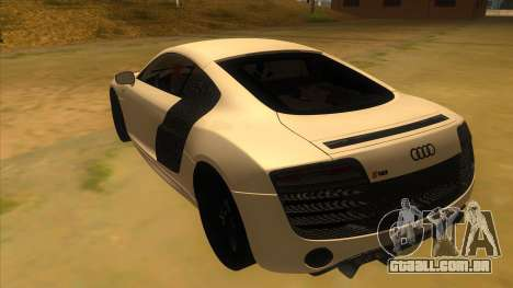 Audi R8 5.2 V10 Plus para GTA San Andreas traseira esquerda vista