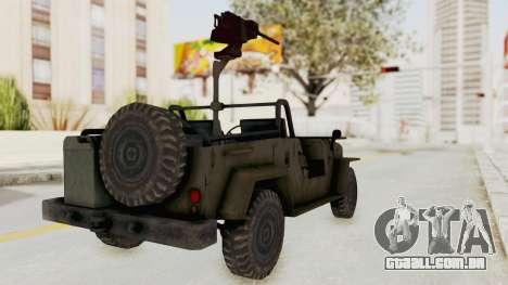 MGSV Jeep para GTA San Andreas traseira esquerda vista