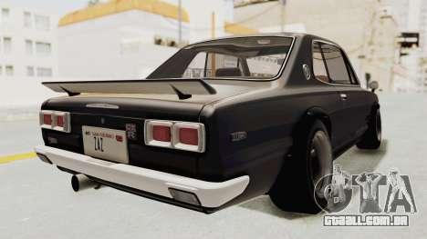 Nissan Skyline KPGC10 1971 Camber para GTA San Andreas traseira esquerda vista