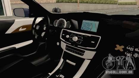 Honda Accord 2017 para GTA San Andreas vista interior