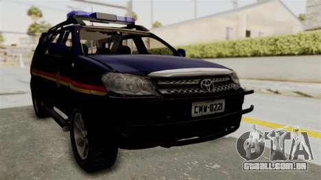 Toyota Fortuner JPJ Dark Blue para GTA San Andreas vista direita