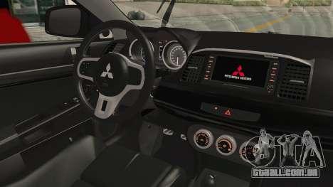 Mitsubishi Lancer Evolution X Ken Kaneki Itasha para GTA San Andreas vista interior