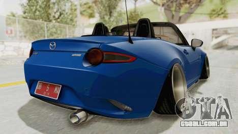Mazda MX-5 Slammed para GTA San Andreas esquerda vista