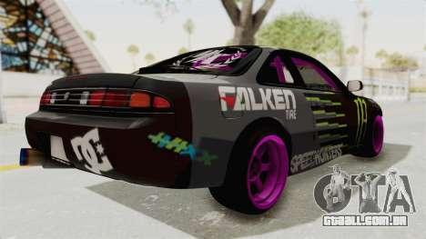 Nissan Silvia S14 Drift Monster Energy Falken para GTA San Andreas traseira esquerda vista