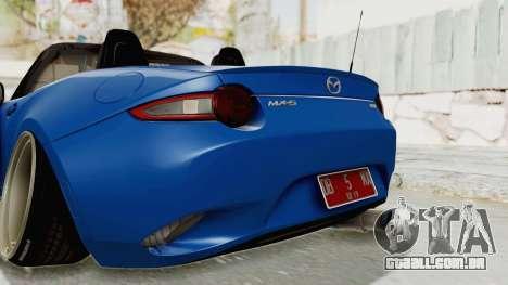 Mazda MX-5 Slammed para GTA San Andreas interior