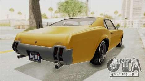 GTA 5 Declasse Sabre GT2 A IVF para GTA San Andreas traseira esquerda vista
