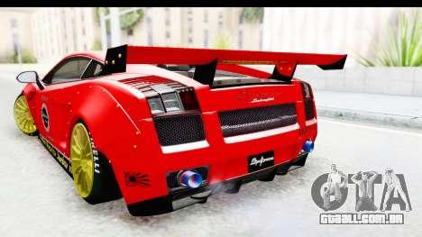 Lamborghini Gallardo Superleggera 2007 para GTA San Andreas vista traseira