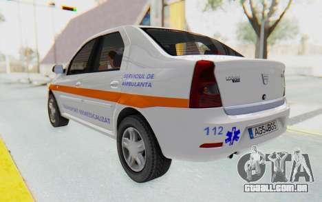 Dacia Logan Facelift Ambulanta para GTA San Andreas traseira esquerda vista