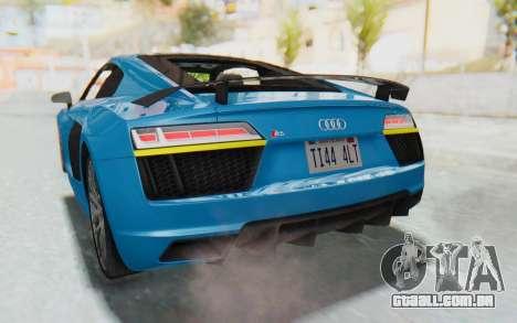 Audi R8 V10 2017 v2.0 para GTA San Andreas vista superior