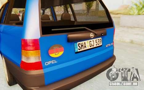 Opel Astra F Kombi 1997 para vista lateral GTA San Andreas
