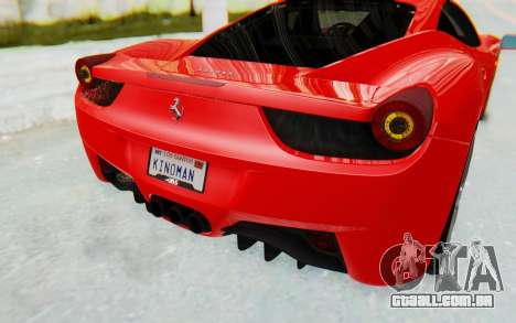 Ferrari 458 Italia F142 2010 para GTA San Andreas vista inferior