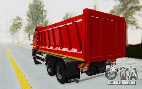 Volvo FMX 6x4 Dumper v1.0 para GTA San Andreas traseira esquerda vista