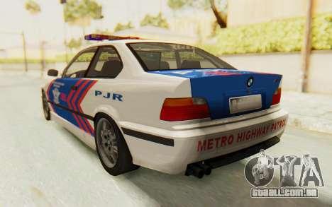 BMW M3 E36 Police Indonesia para GTA San Andreas vista direita