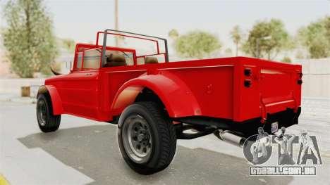 GTA 5 Canis Bodhi IVF para GTA San Andreas traseira esquerda vista