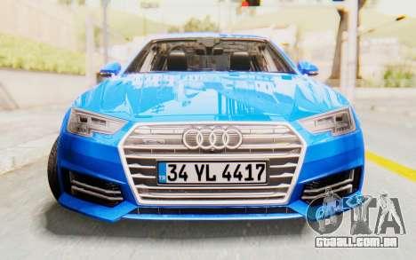Audi A4 2017 HQLM para GTA San Andreas vista traseira