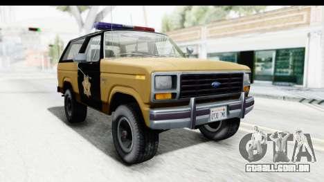 Ford Bronco 1982 Police IVF para GTA San Andreas vista direita