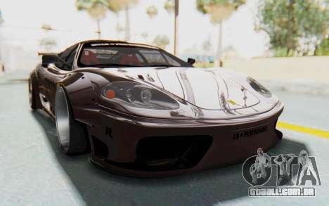 Ferrari 360 Modena Liberty Walk LB Perfomance v1 para GTA San Andreas traseira esquerda vista