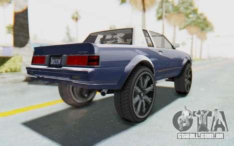 GTA 5 Willard Faction Custom Donk v1 para GTA San Andreas esquerda vista