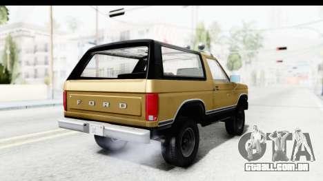 Ford Bronco 1980 IVF para GTA San Andreas esquerda vista