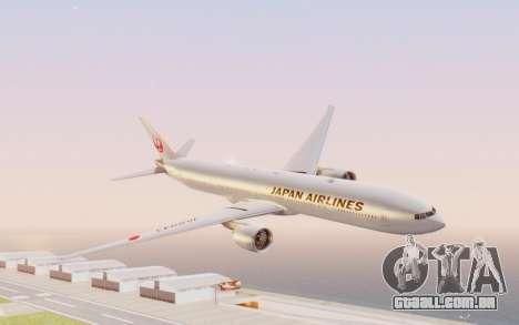 Boeing 777-300ER Japan Airlines v2 para GTA San Andreas traseira esquerda vista