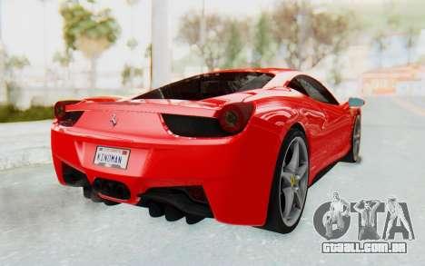 Ferrari 458 Italia F142 2010 para GTA San Andreas esquerda vista