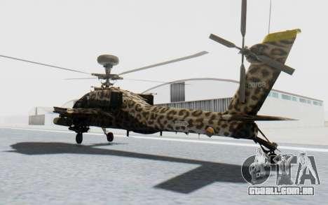 AH-64 Apache Leopard para GTA San Andreas traseira esquerda vista