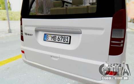 Mercedes-Benz Viano W639 2010 Long Version para vista lateral GTA San Andreas