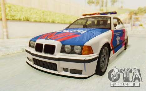BMW M3 E36 Police Indonesia para GTA San Andreas vista traseira