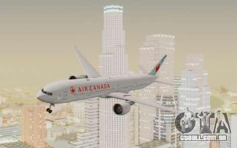 Boeing 777-300ER Air Canada para GTA San Andreas traseira esquerda vista