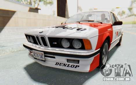 BMW M635 CSi (E24) 1984 IVF PJ1 para o motor de GTA San Andreas