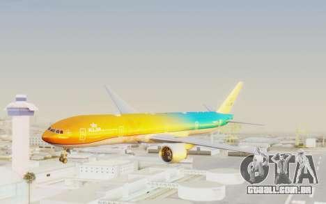 Boeing 777-300ER KLM - Royal Dutch Airlines v1 para GTA San Andreas traseira esquerda vista