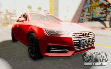 Audi A4 2017 IVF para GTA San Andreas vista traseira