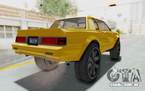 GTA 5 Willard Faction Custom Donk v1 IVF para GTA San Andreas traseira esquerda vista