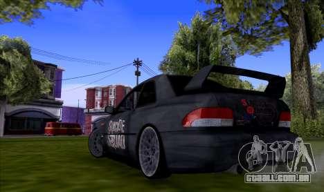 Subaru impreza 22B (SUICIDE SQUAD) para GTA San Andreas traseira esquerda vista