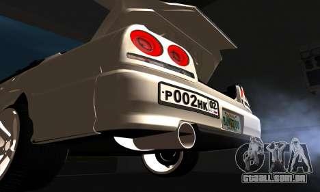 Nissan Skyline ER34 GT-R para GTA San Andreas vista interior