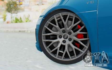 Audi R8 V10 2017 v2.0 para GTA San Andreas traseira esquerda vista