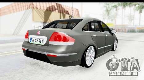 Fiat Linea 2014 para GTA San Andreas vista direita